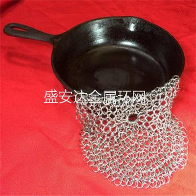 刷锅圆环网 涮锅网布 不锈钢刷锅不 7*7英寸