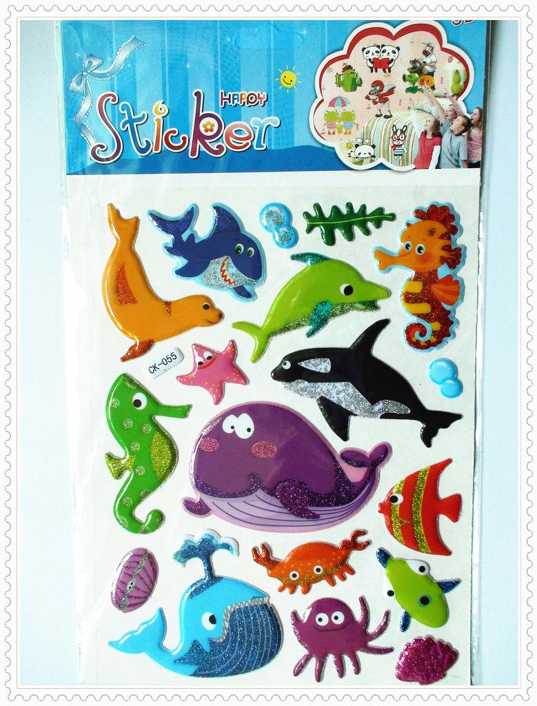 幼儿园奖励粘纸动物小鱼贴贴纸儿童批发卡通 特大号立体泡泡贴画