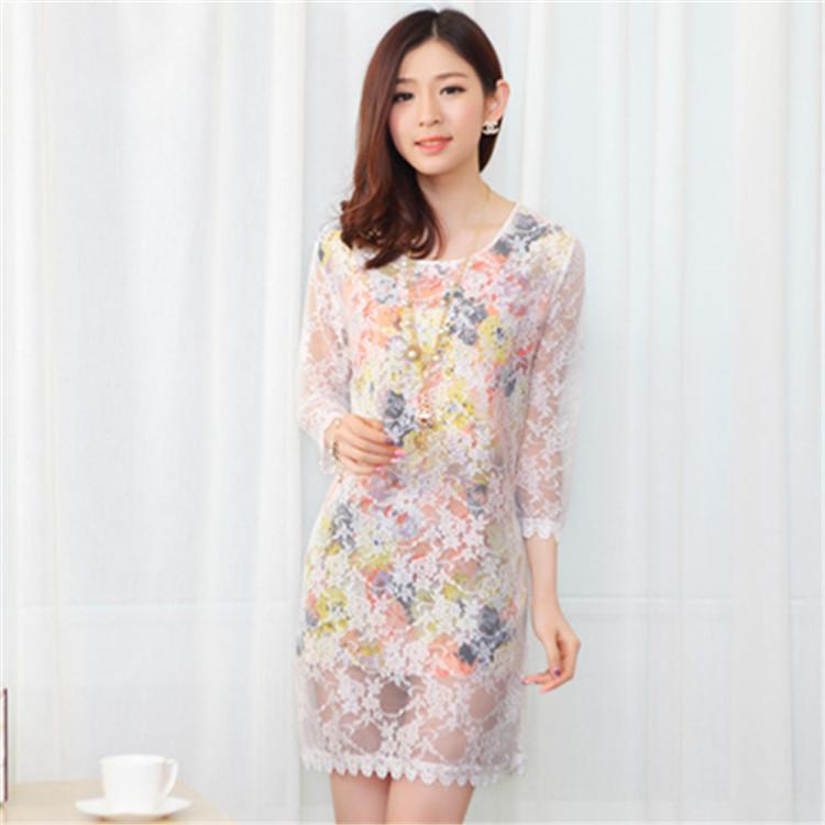 新款韩版修身假两件蕾 丝拼接雪纺连衣裙 大码修身中长款打底裙
