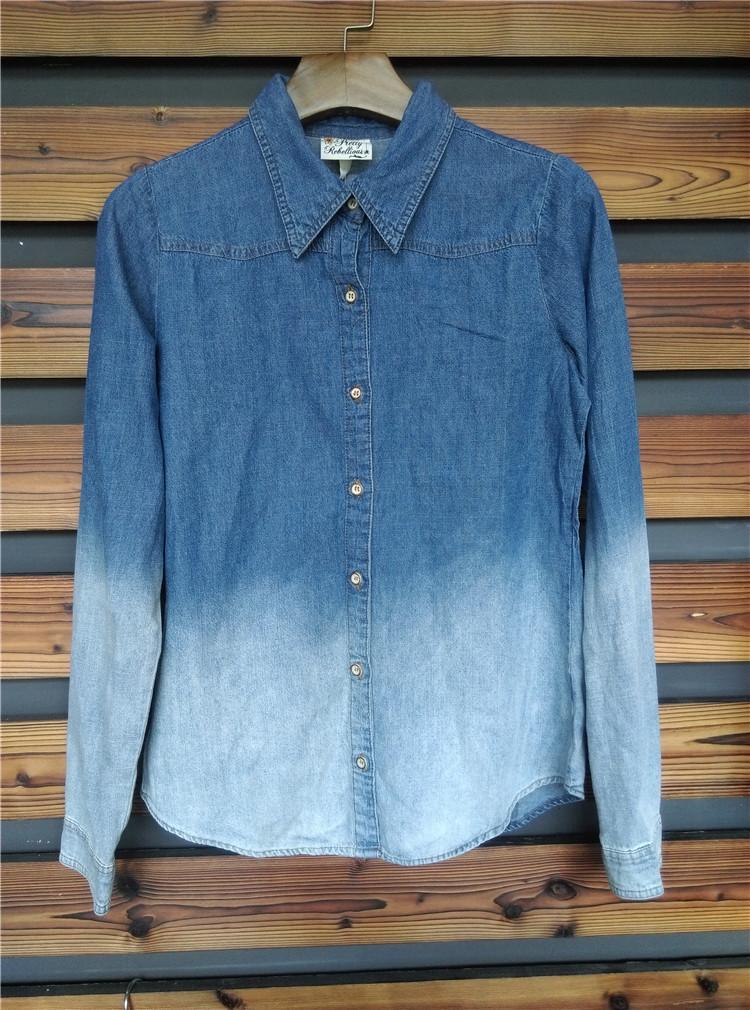女款  渐变色 牛仔 衬衫|库存衬衫处理|,衬衫,单价 18.85元,数量 6000件|服库网