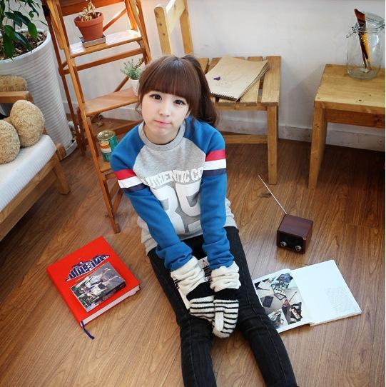 韩版女装潮流女卫衣圆领宽松上衣外贸原单批发卫衣绒衫5011厚款