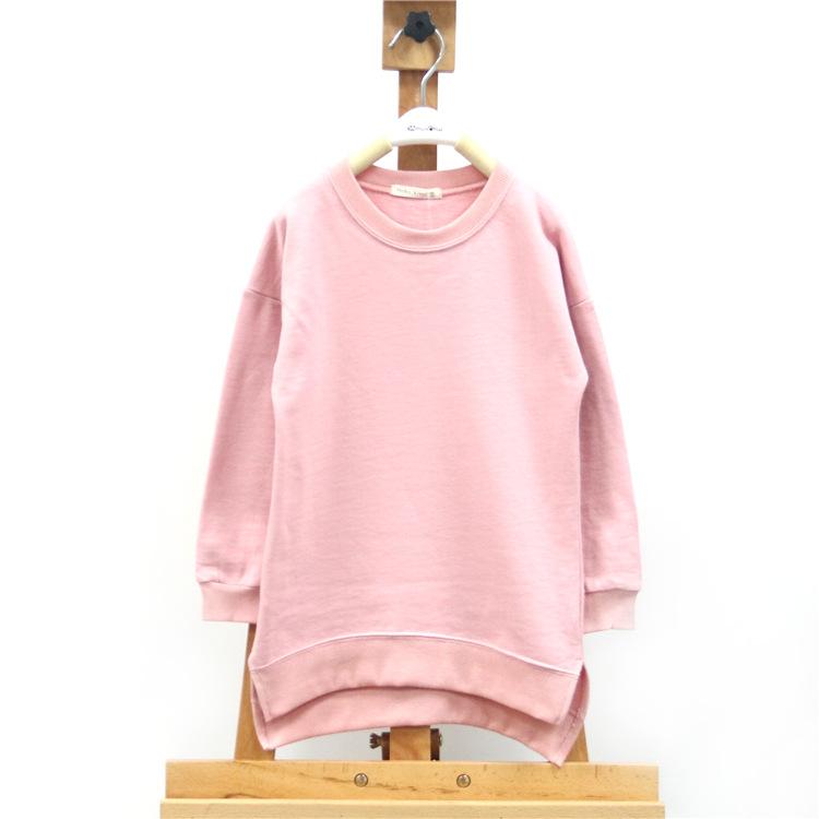 2015春秋季童装男女童中长款t恤衫纯色儿童打底衫批发 ***童装