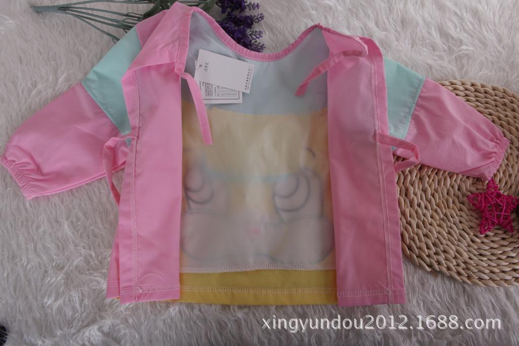 【2015新款儿童罩衣 春款水洗棉1-4岁防水罩衣兜兜