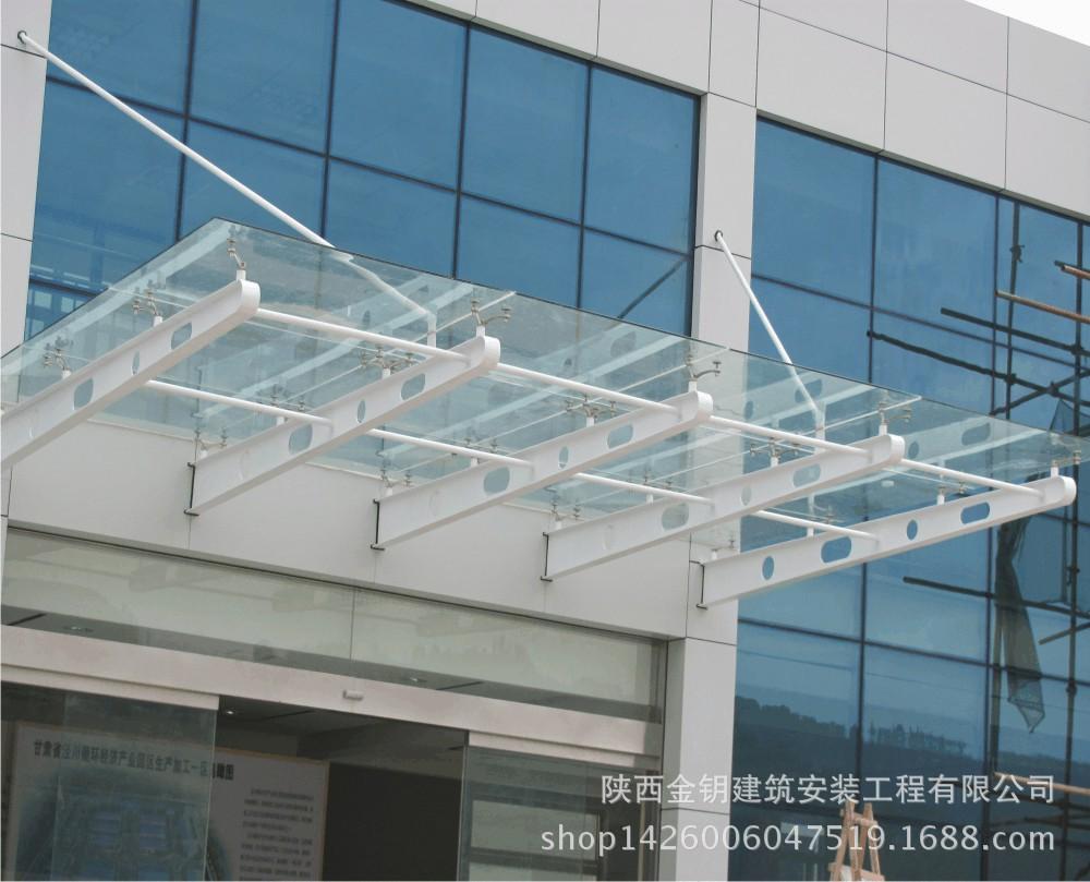 地下车库出口雨棚 钢结构玻璃雨棚 铁艺工程 生产厂家低价出售