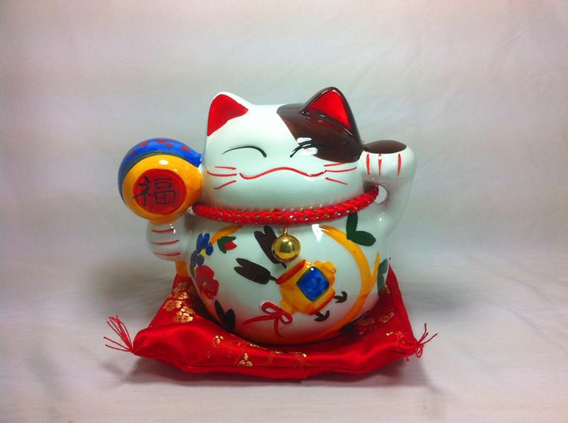 厂家直销 5寸陶瓷招财猫存钱罐摆件 创意工艺品 家居开业礼品
