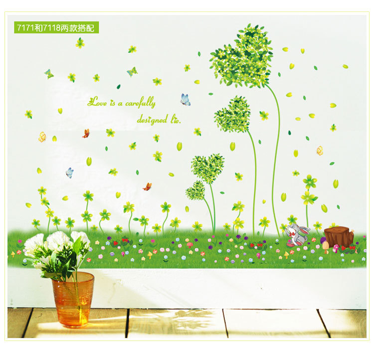 贴纸墙贴画 浪漫温馨环保自粘 田园风格脚踢线墙贴画 ay7171 阿里巴巴