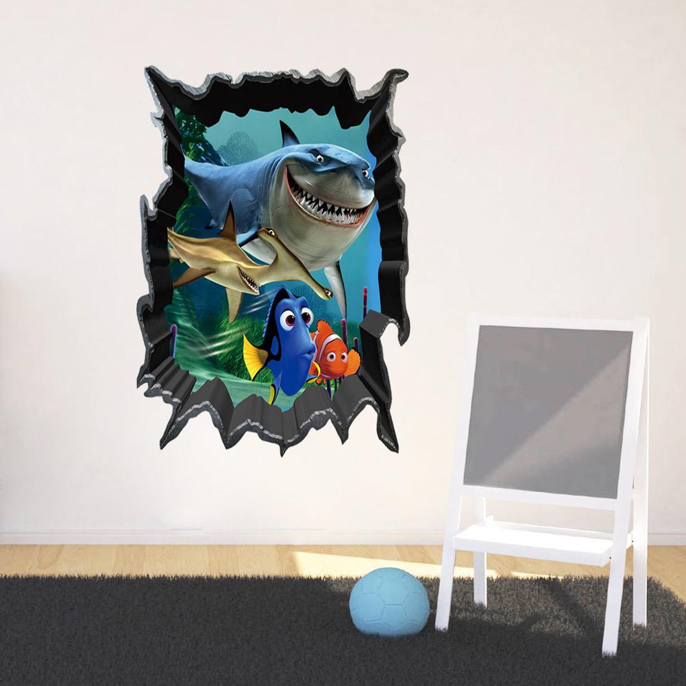 墙贴-zy1438新款海底总动员鲨鱼儿童房卧室墙贴纸